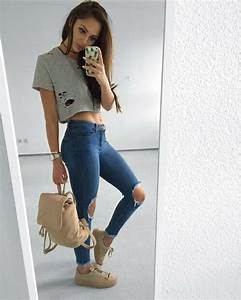 Cute fashion jeans outfit tumblr - image #4703879 by marine21 on Favim.com