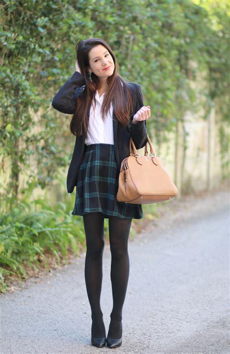Blazer + Black Plaid Skirt - Diary of a Debutante