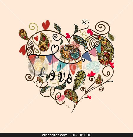 valentine cute lovely heart card stock vector