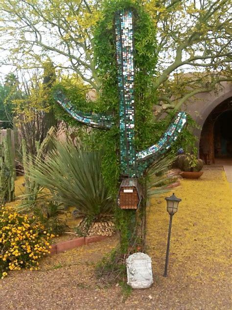 saguaro cactus rebar mailbox zelov yard art pinterest