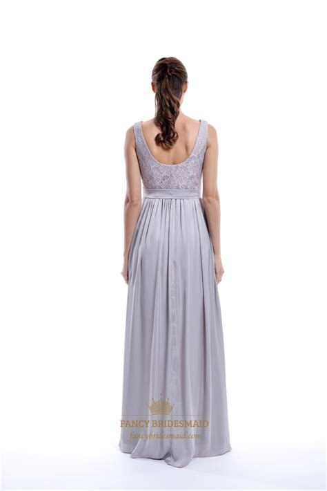 light grey bridesmaid dresses long light grey sleeveless lace top and chiffon bottom long