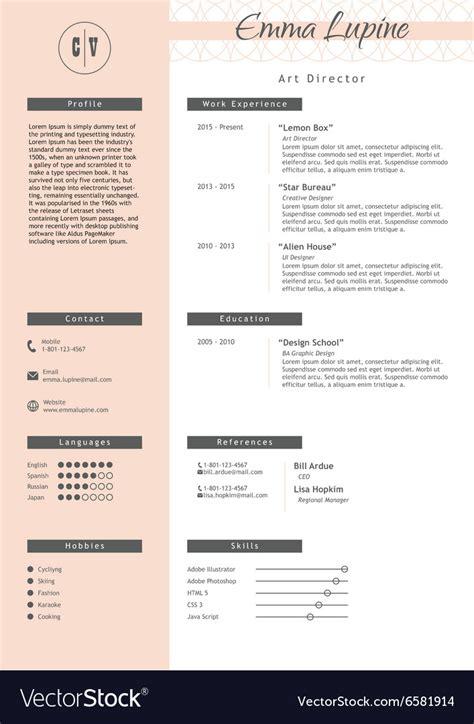 vestor creative resume template minimalist style vector image