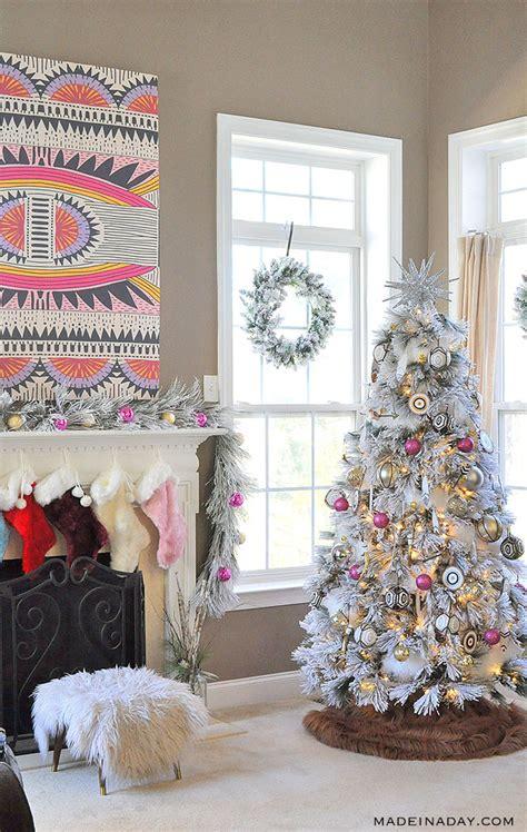 bright hot pink boho flocked christmas tree  year
