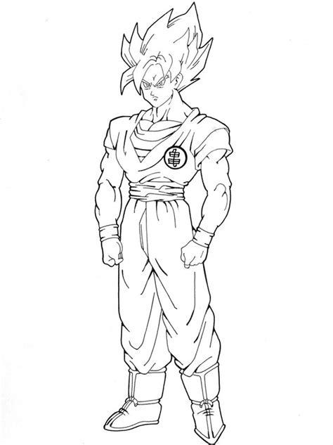 goku super saiyan  drawings full body sketch coloring page