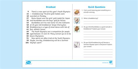 * New * Lks2 Youth Olympics Daily News 60second Read Activity
