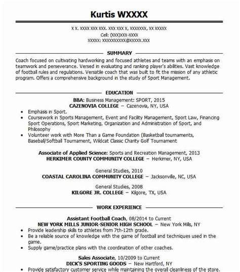 Football Coach Resume by Assistant Football Coach Objectives Resume Objective