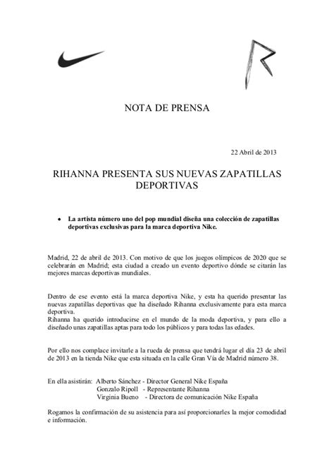 nota de prensa nike