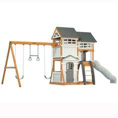 Searsca Patio Swing by Juneau Wood Complete Play Set Kit Swing N Slide Wood