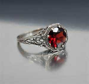 garnet and engagement rings vintage sterling silver filigree garnet ring size 6 5 engagement ring deco wedding jewelry