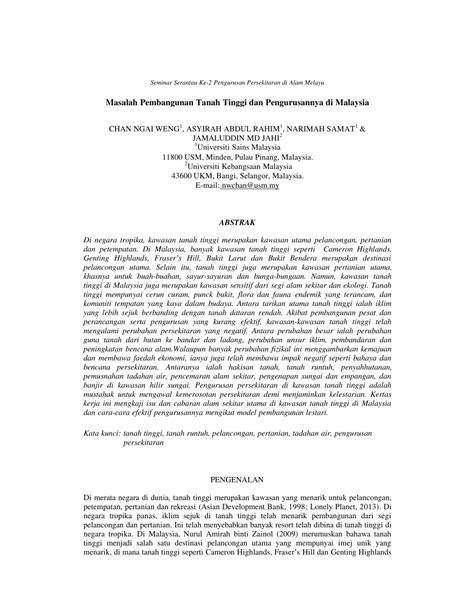 (PDF) Masalah Pembangunan Tanah Tinggi dan Pengurusannya