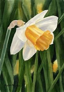 Single Yellow Daffodil Painting by Sharon Freeman