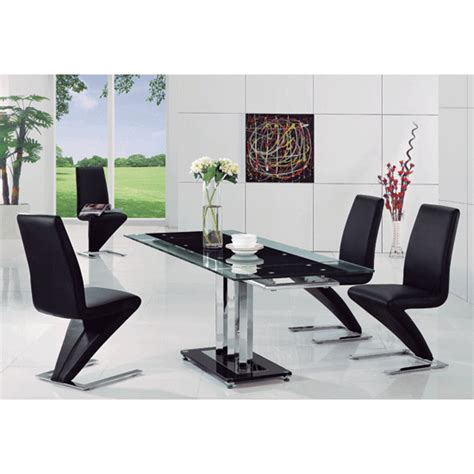 rihanna black glass extending dining table and 6 z dining