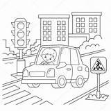 Circulation Dessin Ampel Semaforo Chauffeur Animé Ragazzo Fahrer Umriss Kleurenoverzicht Väg Bilar Biltransport Färgning Förare Färgbok Fordon Tecknade Trafikljus Kontur sketch template