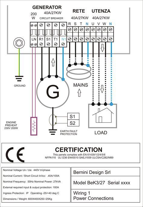 diesel generator panel wiring diagram genset controller