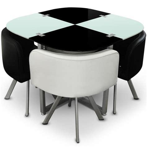 Table Scandinave Et Chaises Vintage 90 Blanc Et Noir Pas