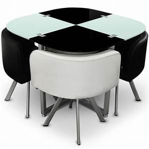 Table Avec 4 Chaises : table scandinave et chaises vintage 90 blanc et noir pas cher scandinave deco ~ Teatrodelosmanantiales.com Idées de Décoration