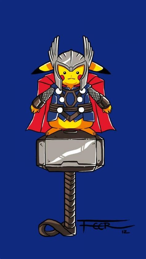 pokemon thor pikachu avengers wallpaper