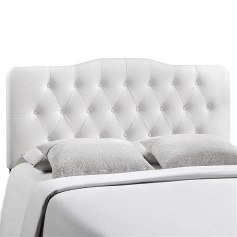 White Leather Tufted Headboard King by Annabel Faux Leather Button Tufted Arched King Headboard