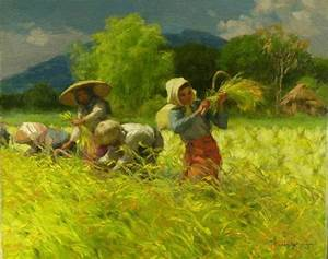 """Harvesting Rice"" by Fernando Amorsolo, Philippine ..."