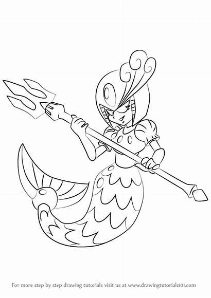 Splash Mega Woman Draw Drawing Step Tutorials