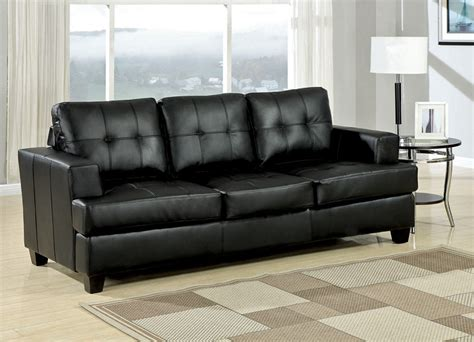 Sam Leather Sofa by Samuel Black Leather Sofa Collection