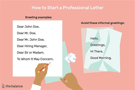start  letter  professional greeting examples