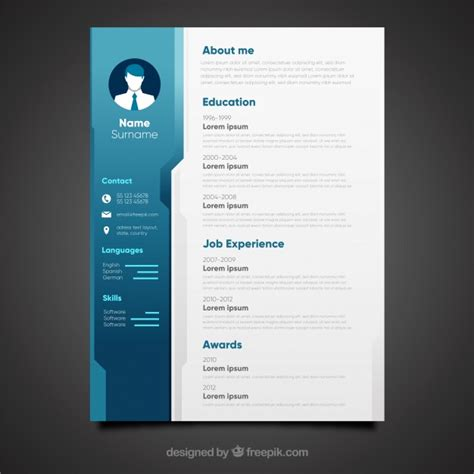 Cv Design by Blue Cv Design Vector Free