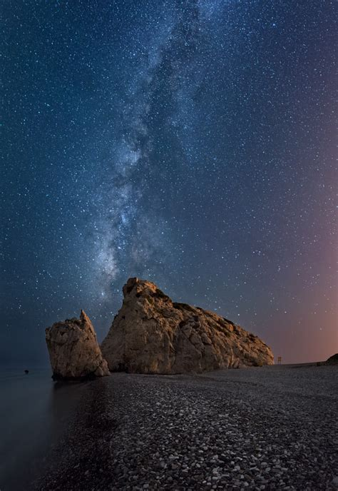 Beautiful Shot Aphrodite Rock Sitting Under The Milky