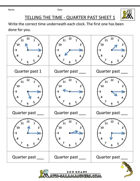 telling time quarter past on quarter past time worksheets