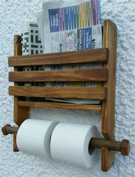 rustic wooden wall double toilet roll holder  book