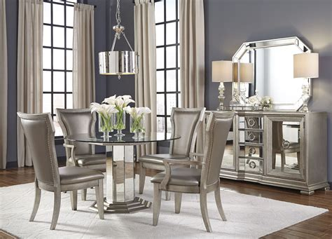 couture silver  pedestal dining room set p