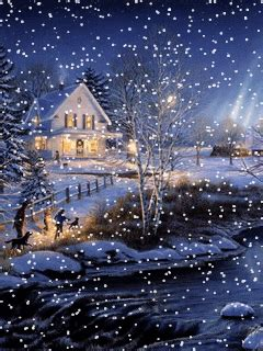 Evening Animated Wallpaper - animated 240x320 171 winter evening 187 cell phone