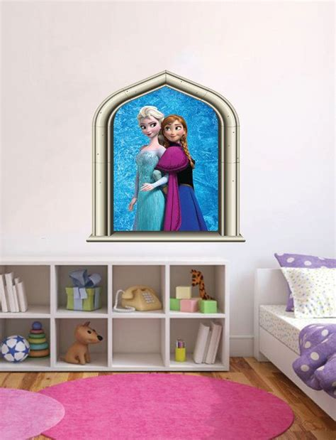 disney frozen elsa anna castle window wall art colour