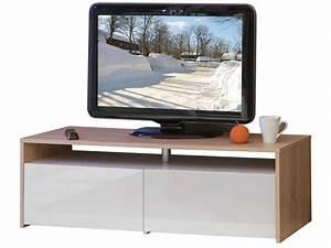 Casa Meuble Tv : meuble tv 2 tiroirs fa ades laqu es coloris ch ne blanc chez conforama ~ Teatrodelosmanantiales.com Idées de Décoration