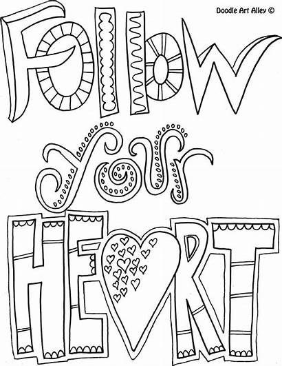 Coloring Motivational Pages Quotes Follow Heart