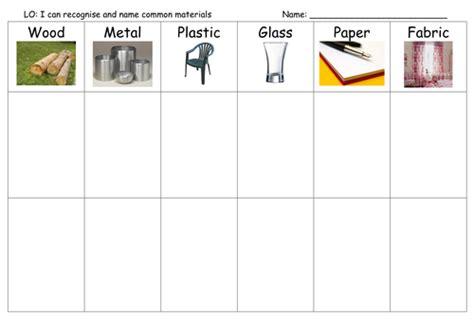 sorting materials worksheet  chantal teaching