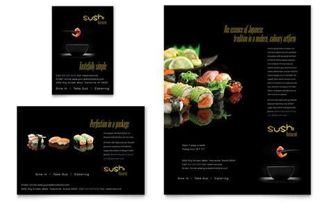 sushi restaurant flyer ad template design