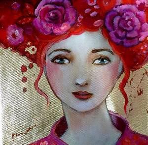 Peinture Visage Femme : fragile portrait de femme chevelure fleurs fond feuille d 39 or toile 20x20cm peintures par ~ Melissatoandfro.com Idées de Décoration