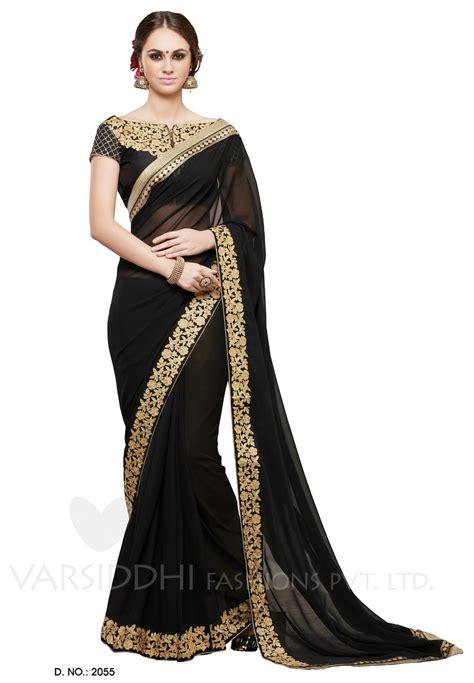 black saree blouse wear saree black georgette saree with