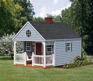 8x12 backyard cabin with blue vinyl siding yelp With amish backyard structures