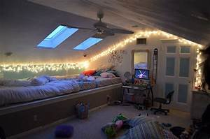 Attic bedroom with fairylights fairy lights