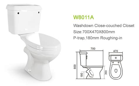 color 2 p trap wc with water tank light blue