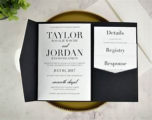 real diy wedding invitation classic black white pocket With plain pocket wedding invitations