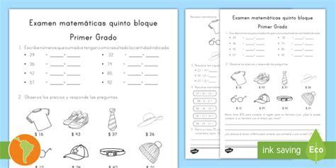 foto de Fichas de actividad: Examen de matemáticas Primer grado