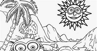 Coloring Pages Minion Printable Banana Drawing Landscape
