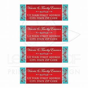 personalized aqua blue red address labels with ornate With address labels for wedding invitations indian