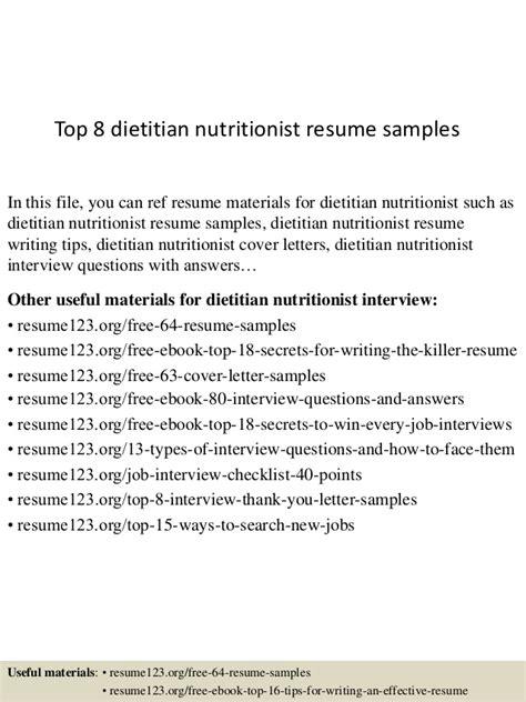 Dietitian Resume Cover Letter by Top 8 Dietitian Nutritionist Resume Sles