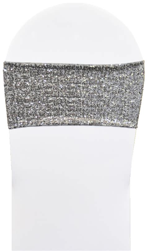 sle silver sequin spandex stretch chair bands sashes