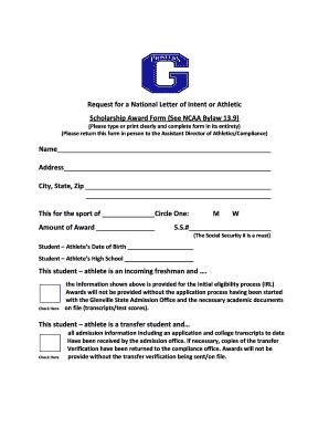 printable scholarship award letter template forms