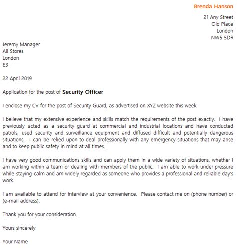 security guard cover letter  icoverorguk